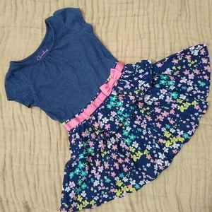 Cherokee blue floral dress, pink bow. 2T